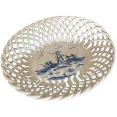 Biscuit Basket Delft Dutch Blue 19th Century