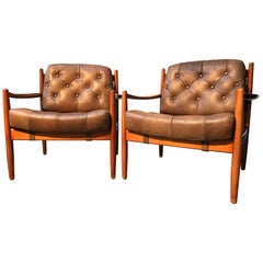 Vintage Pair of Ingemar Thillmark Lounge Chairs in Leather and Beech Wood