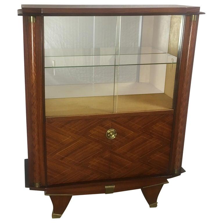 1940/'s French Walnut Vitrine DisplayDry Bar Cabinet