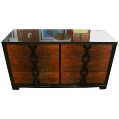 1940s Walnut and Rosewood X Pull Six-Drawer Dresser