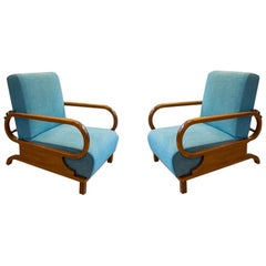 Adjustable Art Deco Armchairs, 1930s, Set of 2
