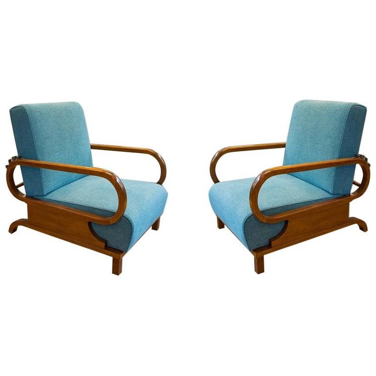 Adjustable Art Deco Armchairs, 1930s, Set of 2