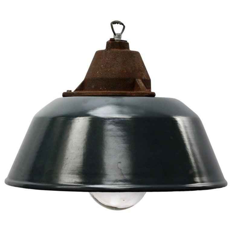 Blue Enamel Vintage Industrial Cast Iron Clear Glass Pendant Lights For Sale
