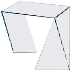 Side Table Contemporary Design Square Glass Crystal