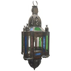 Moroccan Handcrafted Moorish Pendant Lantern with Multi-Color Glass
