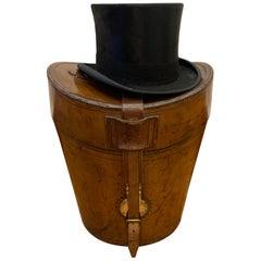 Stunning Victorian English Leather Gentleman's Triple Top Hat Box, circa 1890