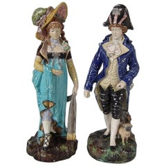 Pair of German Majolica Lady And Gent Figures