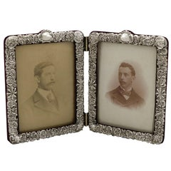 Antique Victorian Sterling Silver Double Photograph Frame, 1900