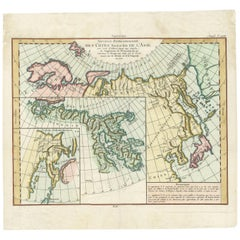 Antique Map of the North and East Coast of Asia by Vaugondy, circa 1750