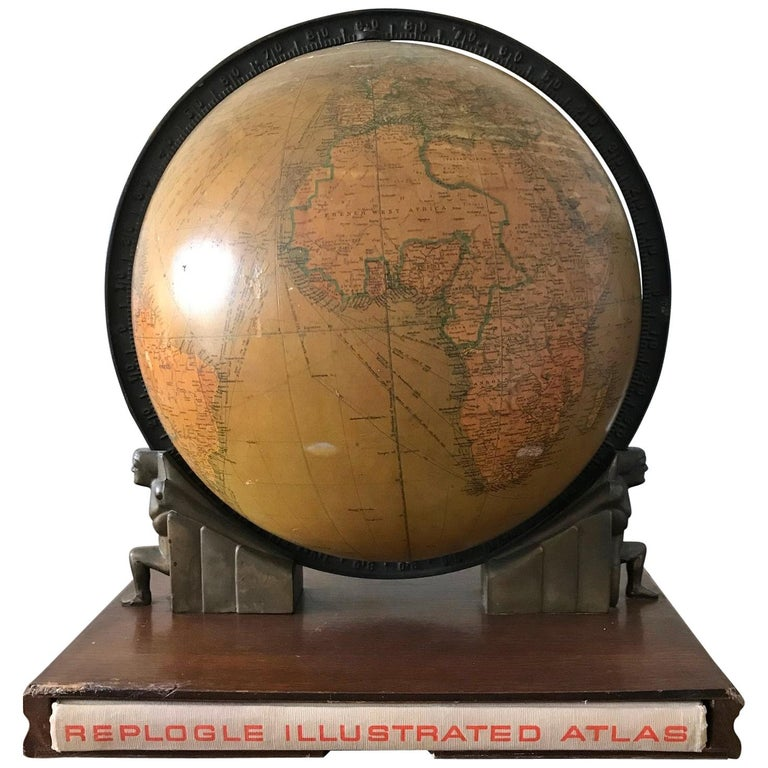 Replogle Library Globe Plus Replogle Illustrated Atlas, Late 1930s For Sale