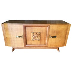 James Mont Style Sideboard with Carved Art Sculpture