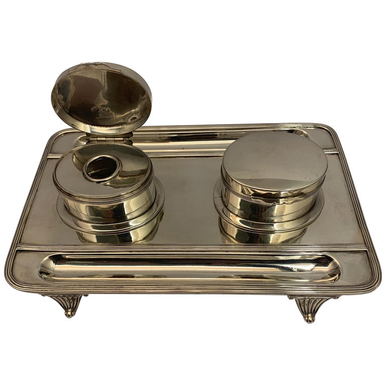 Victorian Silver Double Lidded Inkwell For Sale