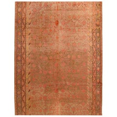 Mid Century Khotan Transitional Pink and Beige Wool Rug