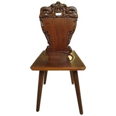 18th Century Brutalist Wooden Chair Carved with Fabulous Creature