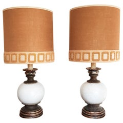 Pair of Midcentury Drip Textured Ceramic and Wood Lamps with Original Shades