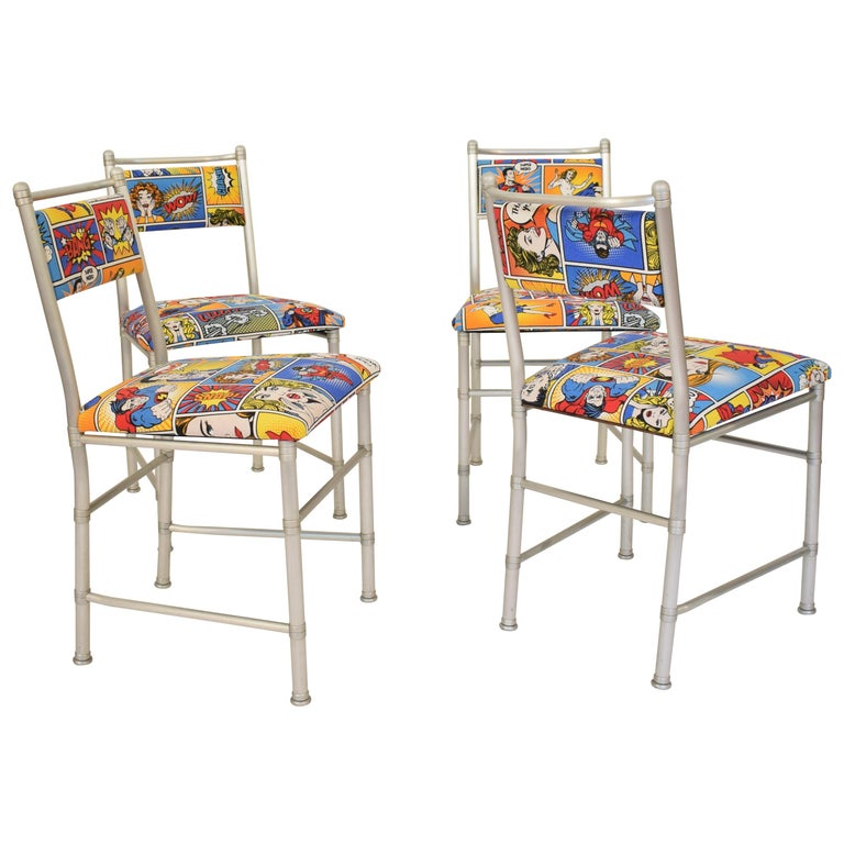 Set of Four Aluminium Dining Chairs by Warren McArthur with Pop Art Fabric Cover For Sale