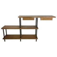 Mid-Century Modern Three-Tiered Shelf Unit, Oak and Iron