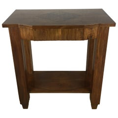 French Art Deco Side Table or Console with Marquetry Top, Carved Legs & Drawer
