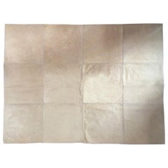 Italy Post Modern Design Natural Blond Leather Cow Carpet Rug 1990