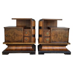 20th Century Art Deco Carved Pair of Nightstands with Two Drawers and Door