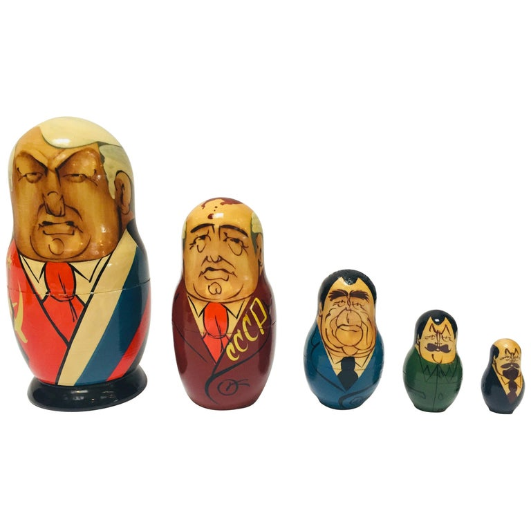Hand Painted and Carved Nesting Matryoshka Soviet Politicians USSR, 1990s For Sale