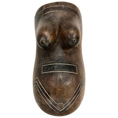 African Woman Pregnancy Sculpture Midcentury Mod Belly Body Art Mask