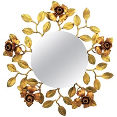 1950s Spanish Mid-Century Modern Polychrome Iron Rosebush Floral Mirror