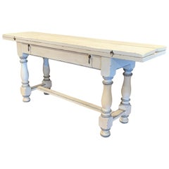 Early 20th Century French Carved and Painted Console Table with Folding Leaves