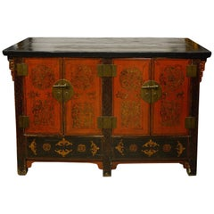 Chinese Old Red Lacquered Sideboard