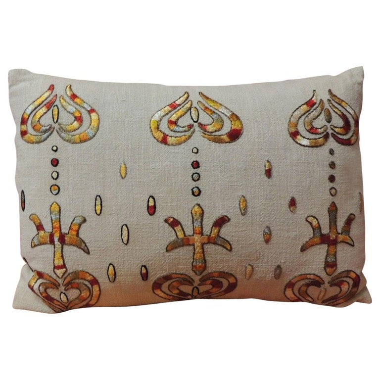Yellow and Red Embroidered Linen and Silk Petite Decorative Pillow For Sale
