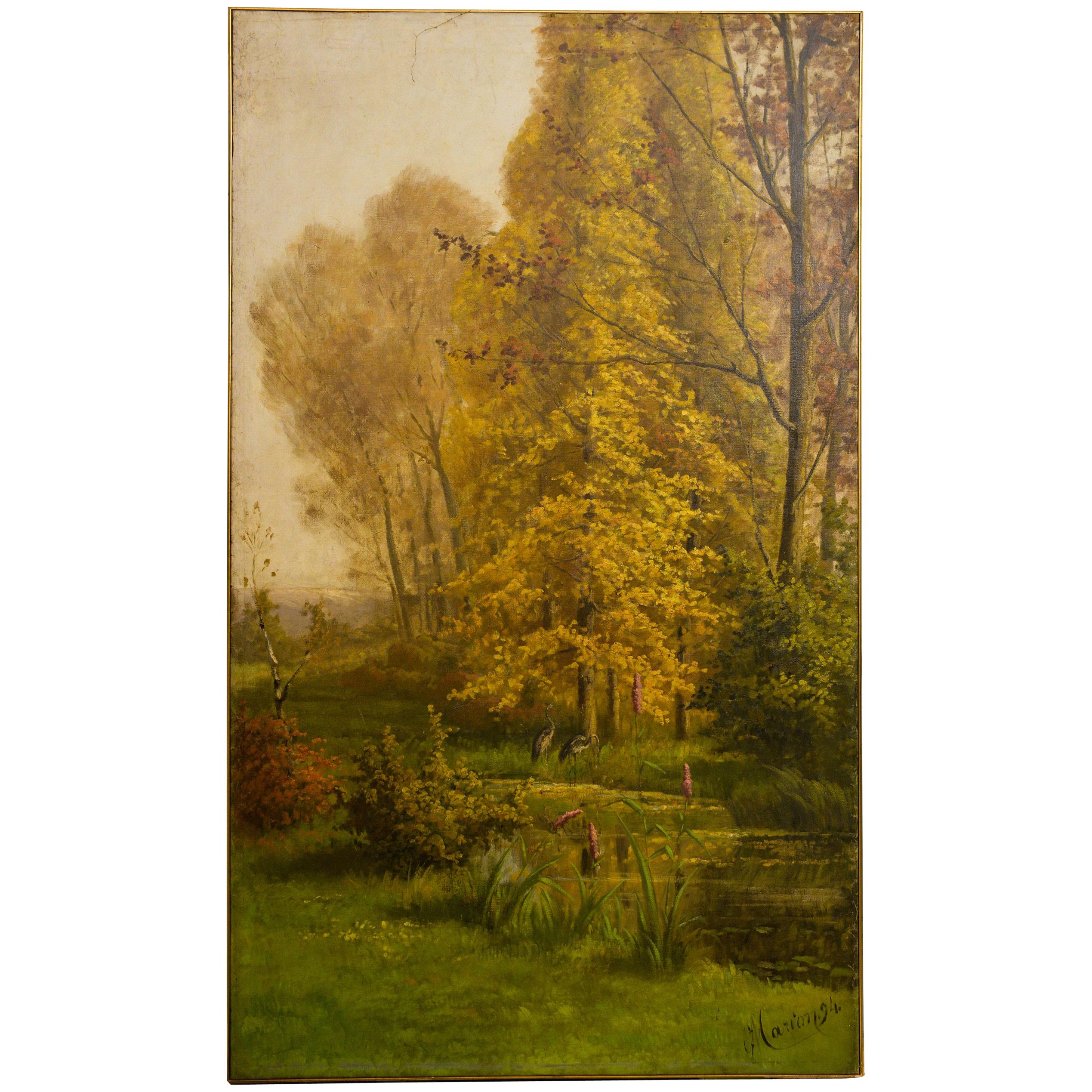 Large Summer Painting Late 1800s Dated or Sliding Door