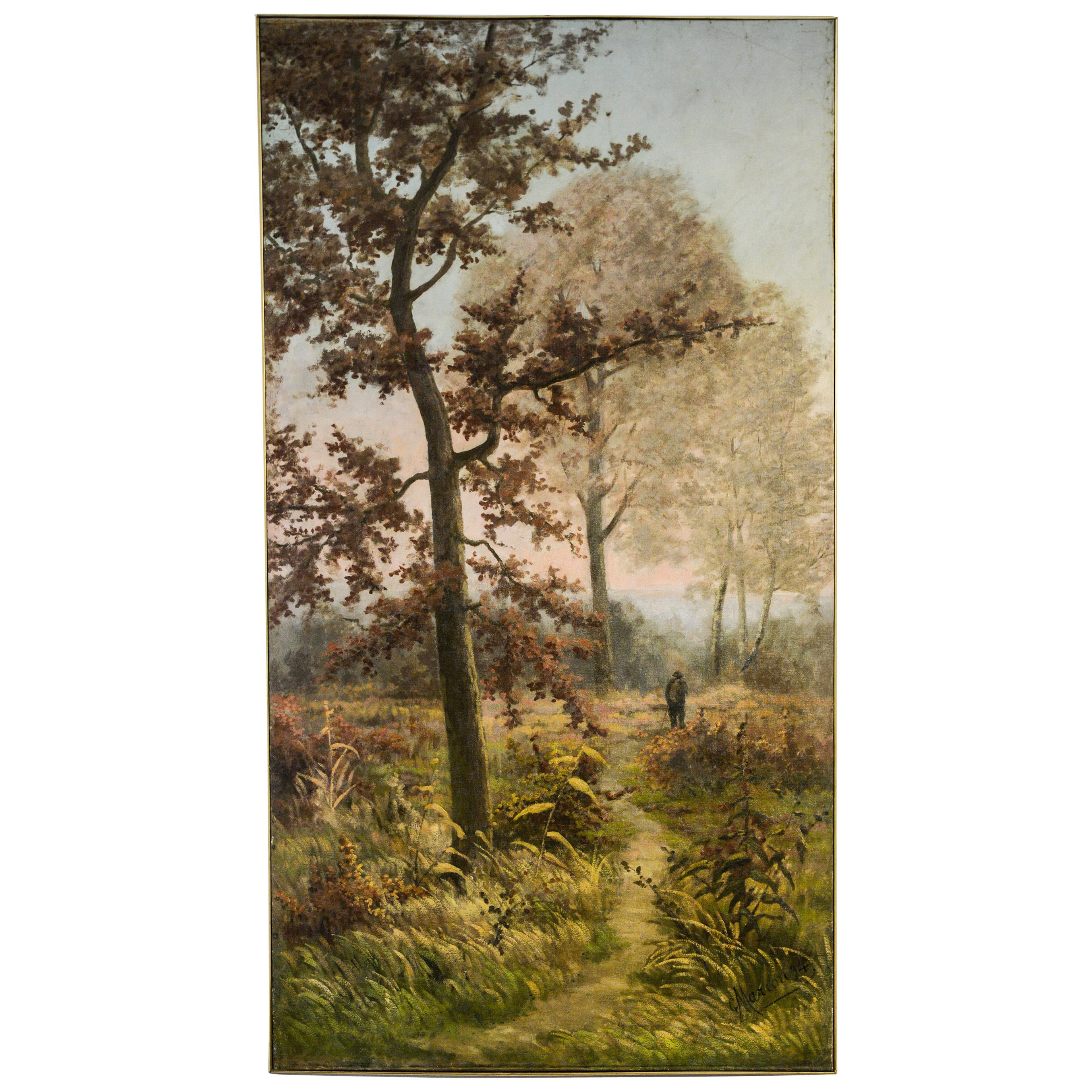 Large French Autumn Painting Dated and Signed or Sliding Door
