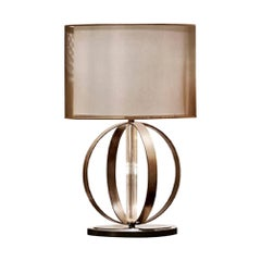 Table Lamp with Bronzed Frame Lined Pyrex Glass Base in Bronzed Mirror