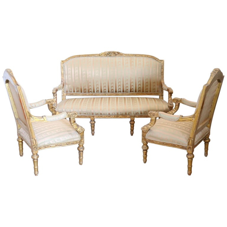 20th Century Italian Louis XVI Style Gilded Wood Living Room Set or ...