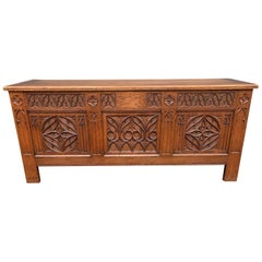 Stunning & Quality Carved Gothic Revival Blanket Chest with Church Window Panels