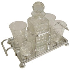 Antique English Drinks Set on Fitted Tray by John Bishop Chatterley, circa 1900