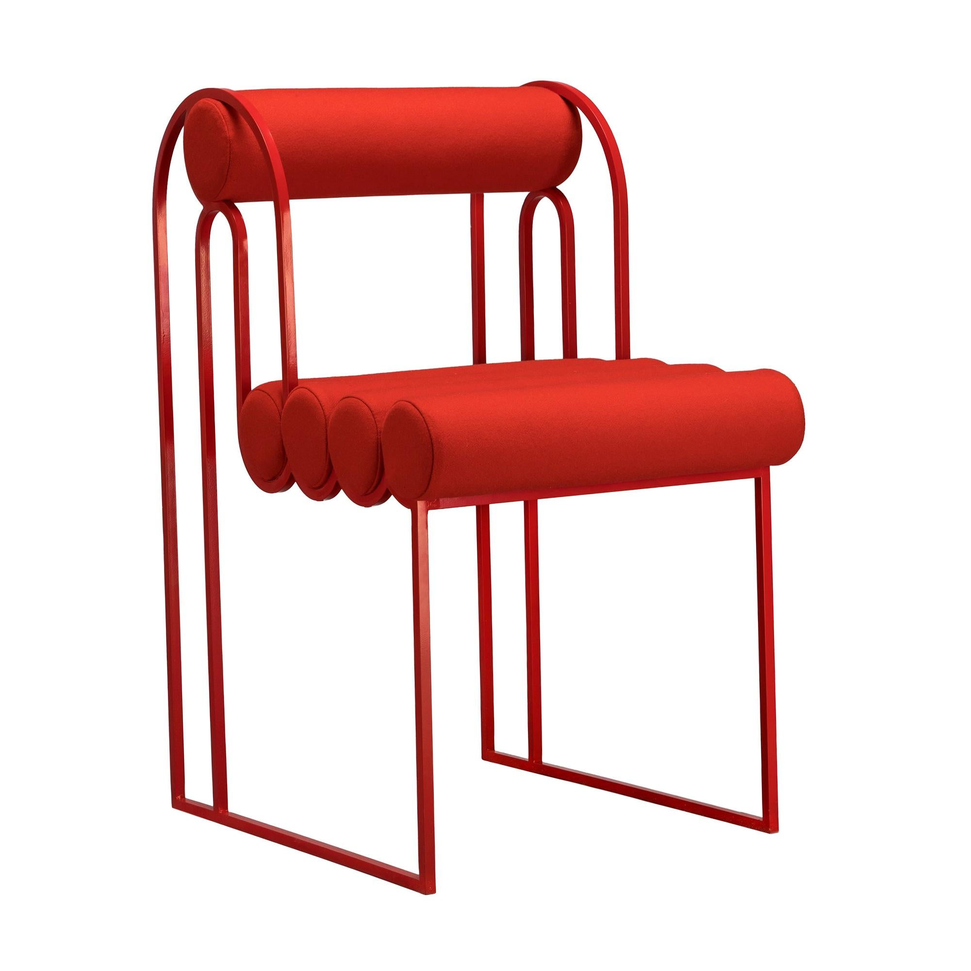 Apollo Dinning Chair, Red Coated Steel Frame and Red Wool by Lara Bohinc
