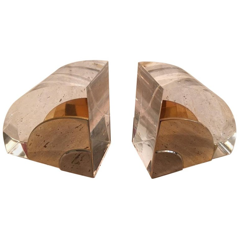 Pair of 1970s Lucite and Brass Bookends For Sale