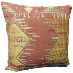 "Antique Textile ""Phulkari"" Embroidered Linen Decorative Pillow"