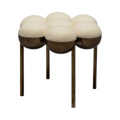 Saturn Pouffe Small, Dark Brass Frame and Cream Wool by Lara Bohinc