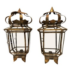 Pair of Vintage Spanish Gilded Tole Sconces