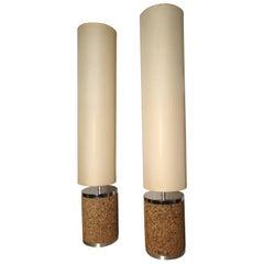 Pair of Midcentury Cork Lamps