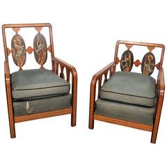 Companion Pair of Art Deco Armchairs