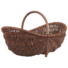 French Wicker Basket, 20th Century