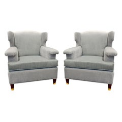 Pair Of Elegant Sculptural French Wing Chairs, 1950s