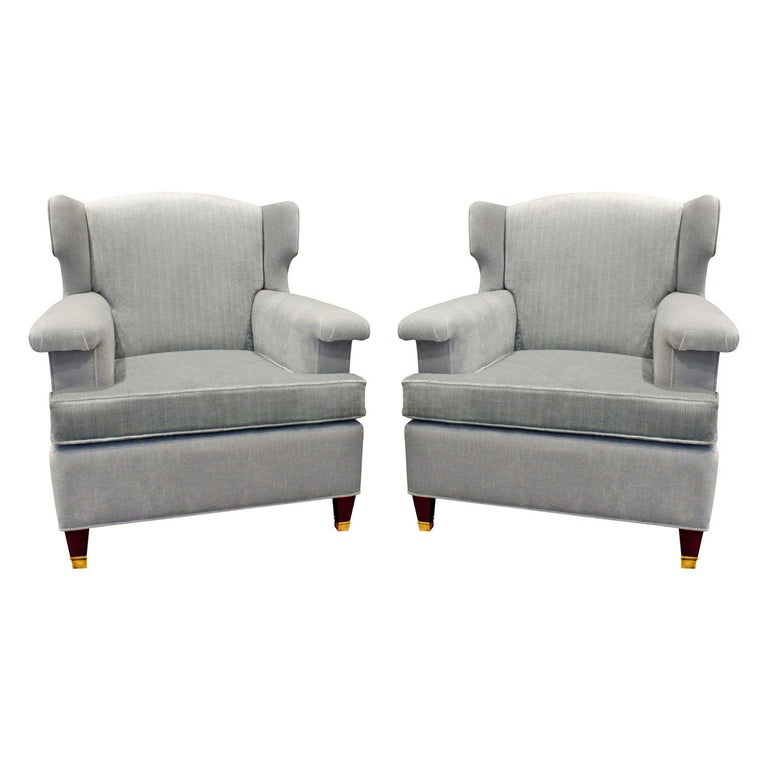 Pair Of Elegant Sculptural French Wing Chairs, 1950s For Sale