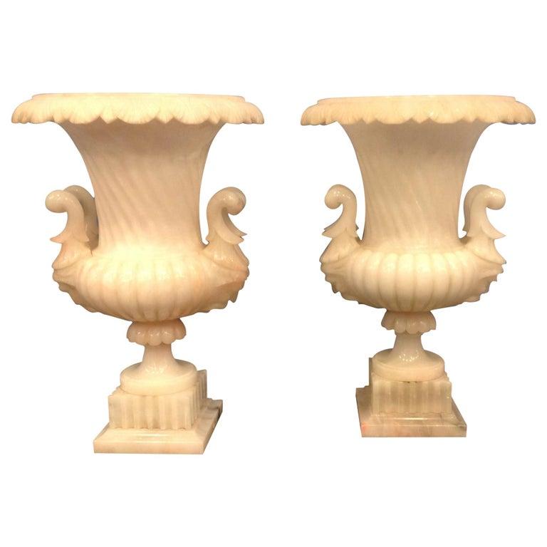 Pair of Large Carved Alabaster Urns For Sale