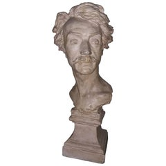 Gerome J.L. 1880 French Terracotta Self-Portrait Bust Signed on the Side
