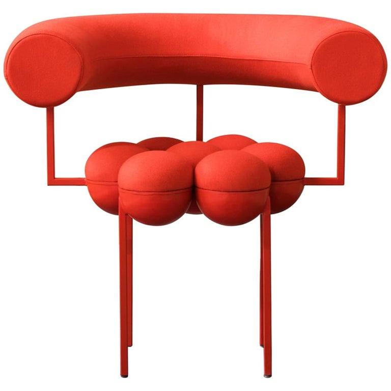 Saturn Chair, Red Frame and Red Wool by Lara Bohinc For Sale