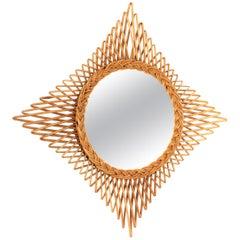 1960s French Riviera Midcentury Handwoven Wicker Rattan Rhombus Sunburst Mirror